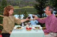 Alfresco dining at Siwash Lake Ranch is a luxurious , romantic treat for couples.