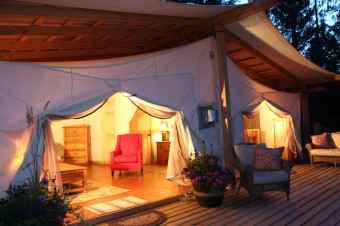 Guests stay in safari-inspired luxury tents at Siwash Lake Ranch.