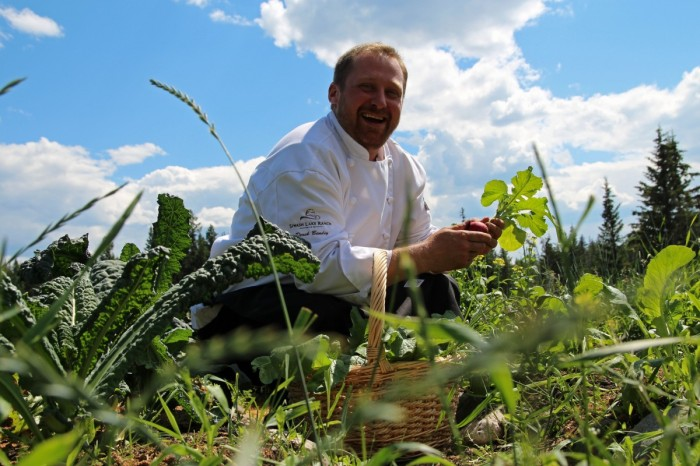 Our executive chef in the ranch garden